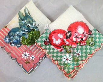 Set of Two Children's Handkerchiefs, One with a Puppy and One with a Rabbit