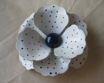 Flower White Blue Brooch Enamel Vintage Pin