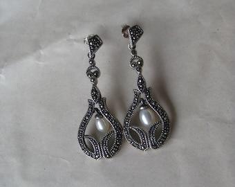 Marcasite Pearl Sterling Earrings Pierced Dangle Tear Drop Post Vintage 925