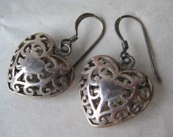 Heart Filigree Sterling Earrings Pierced Wire Silver Vintage Dangle 925