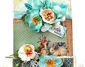 shabby easter card-BUNNY RABBITS-easter WISHES greeting