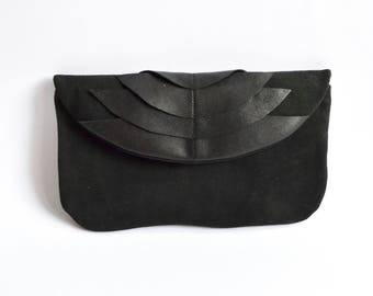 Leatherclutch in Black with Art Deco Ornaments