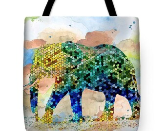 Tote Bag Mosaic Elephant Design 36, 37 All over print accessory from art painting L.Dumas Artbylucie Totes