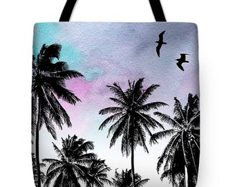 Tote Bag All over print Design 27 Palm tree bird seagull beach Digital art by L.Dumas Artbylucie Totes