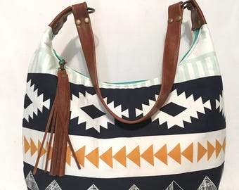 Large hobo with Arizona print fabric and leather strap