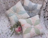 3 Vintage Quilt Pillows Made from Handstitched Star Flower Quilt
