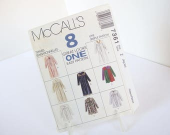 UNCUT Vintage 1990's Robe or Muumuu Sewing Pattern McCall's 7361, Size XL and XXL, Bust 42 and 48 Inches