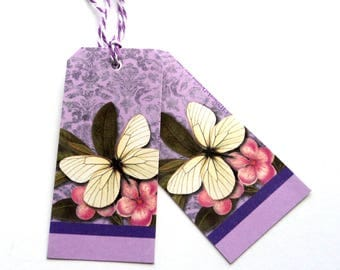 14 Gift Tags, Lavender Butterfly, Hang Tags, Handmade Tags, Purple Merchandise Tags