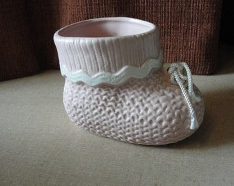 Vintage Lefton baby bootie planter 1986 made in Japan Pink baby bootie