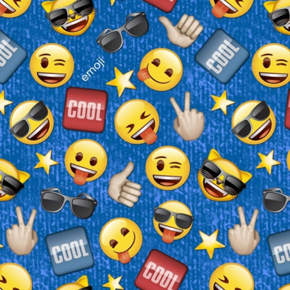 Cool guy emoji 100 cotton fabric by the yard fun trendy for Emoji fabric