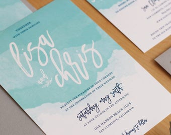 Watercolor Wedding Invitation, brush calligraphy invitation, navy invitation, modern watercolor invitation SAMPLE