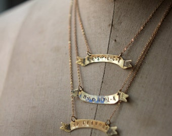 Personalized Banner Necklace, Hand Stamped Pendant, Custom Name Necklace, Monogram, Feminist, Gold Brass, Gift for Her, Under 25