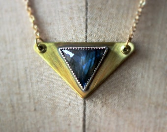 Labradorite Pendant, Triangle Necklace, Gold Brass, Sterling Silver, OOAK, Faceted Labradorite, Modern Necklace, Geometric, Triangular
