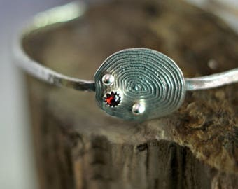 Sterling Silver Faux Geode Cuff Bracelet with Garnets and Droplets