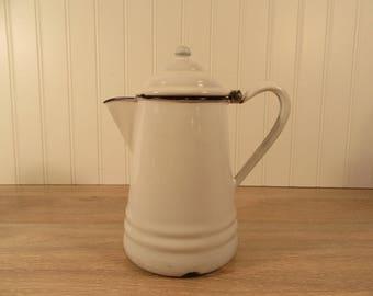 Vintage white enamel teapot with hinged lid and cobalt blue trim- enamelware, home decor, housewares, tea service, kettle, coffee pot