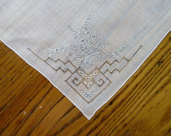 Vintage Wedding Handkerchief, White With Silver Embroidery, Antique Wedding Hanky, Silver Handkerchief, Floral Wedding Hanky,