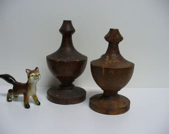 Two Antique Wooden Finials