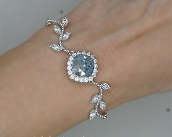 Leaf Bracelet, Blue Crystal Bracelet, Wedding Bracelet, Something Blue, Sapphire Bracelet,Hochzeit Armband, Brautschmuck, Bridesmaid gift