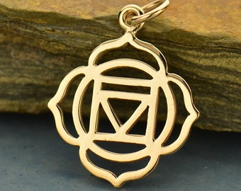 Root Chakra Necklace - Natural Bronze Pendant - 14K Gold Filled Delicate Chain - Insurance Included