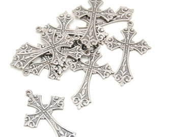 Gothic Cross Rosary Pendant - 1 Piece - Ornate, Antiqued Sterling Silver Plated - 38 x 24mm - Medieval, Religious, Vampire Crosses