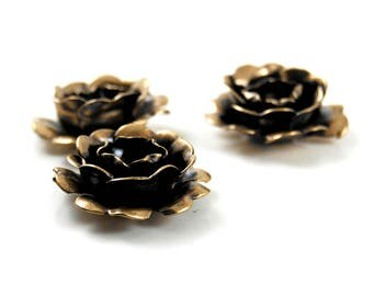 Metal Roses in Antiqued Brass - 3 Pieces - Romantic Boho, Bohemian, Neo Victorian, Gothic Lolita, EGL