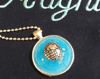Resin Pendant in Silver Bezel with Silver Ball Chain The World in Glittery Blue Sky