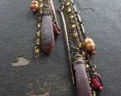 Flotsam No 24 -  Copper and Garnet - Modern Tribal Fringe Earrings