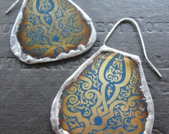 Tribal Patterned Earrings Made From Upcycled Vintage Cookie Tins -  Sterling Wires