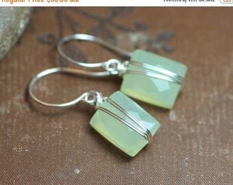Sale Green Chalcedony Earrings Silver Wire Wrapped Celery Green Gemstone Earrings Sterling Silver