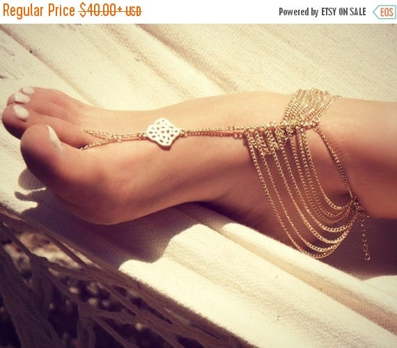 FLASH SALE KATY Anklet- gold chain foot anklet available in gold / Bohemian foot chain/ barefoot sandal / boho / body jewelry / foot chain /