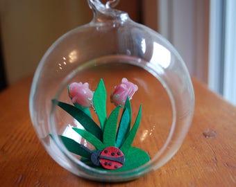 """paper art hanging terrarium in a 3"""" glass globe"""