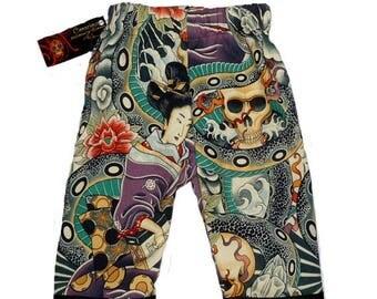 On SALE 40% OFF Zen Clothing - Punk Rock Baby - Geisha Girl - Tattoo Baby - Snake Charmer - Purple Pants - Girls Pants - Boy Pants - Baby Pa
