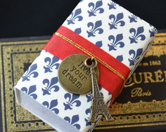 Live Happy in Paris Message Box Greeting with Fabric Gift Bag