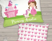 """Girls Daycare Toddler Pillow - girls pillow princess and unicorn personalized daycare / pre school nap pillow 12 x 16""""  -  PCFBTP"""