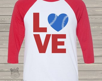 Baseball LOVE three quarter sleeve ADULT raglan baseball shirt - choose your print colors