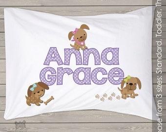 Personalized girl puppy custom pillowcase PIL-015