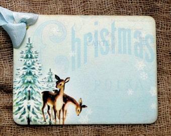 Blue Christmas Deer Pine Tree Gift or Scrapbook Tags or Magnet #514