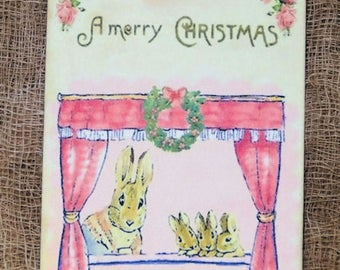 Merry Christmas Bunnies Looking Out Window Christmas Gift or Scrapbook Tags or Magnet #161