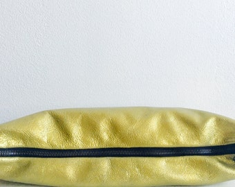 sale Metallic Leather Clutch Handbag Wristlet Sale , Gold Foil Metallic Leather , Fashion Accessories, Edgy Bags