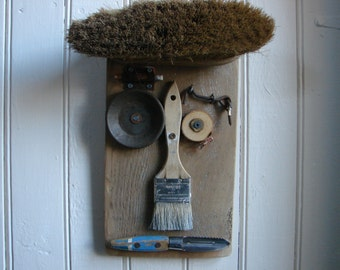 Folk art sculpture, reclaimed wood and metal face, wall hanging, salvaged found object art, Mr. Harry Cook