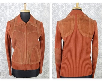 Vintage 1970 Boho Sweater Jacket, Knit, Suede, Sz S