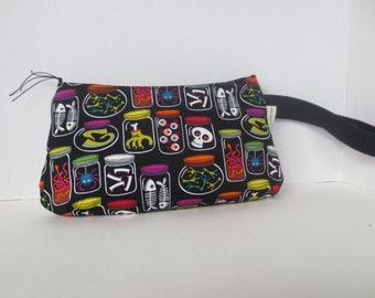 Coraline Clutch - Skulls - Brains - Oddities - Wristlet