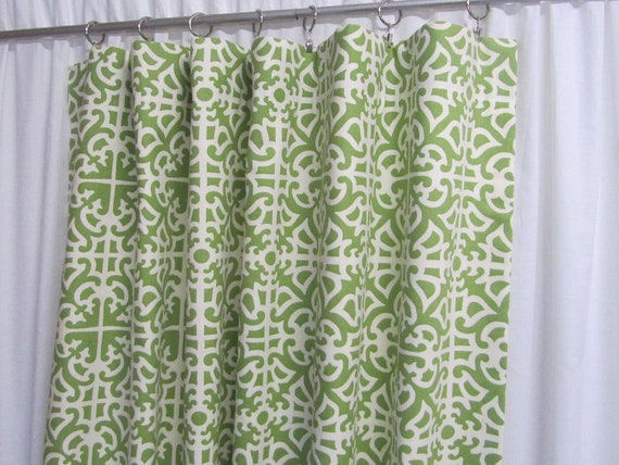"Green Geometric Curtains, Green Home Decor, Damask Curtains, Trendy Drapes, Custom Lattice Window Treatments, Rod-Pocket One Pair 50""W"