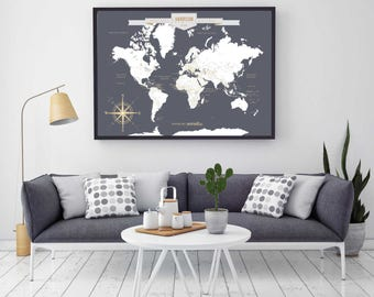 Custom Map, Custom Canvas Map, Custom World Map Art Print, World Custom Push Pin Map, Custom Push Pin World Map // H-I18-1PS AA4 06P OP18