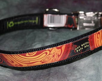 Adjustable Dog Collar from Recycled Magic Hat #9 Beer Labels with Bling