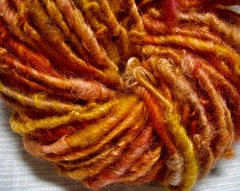 Handspun Hand Dyed Curly Border Leicester Wool Bulky Art Yarn in Hot Colors of Red Orange Pink by KnoxFarmFiber for Knit Crochet Felt Weave