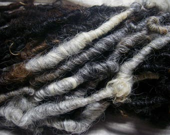 RESERVED for M---Handspun Corespun Bulky Weight Art Yarn in Natural Colors of Grey White Brown by KnoxFarmFiber for Knit Weave Embellishment