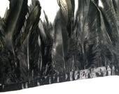 Black Irisescent Feather Wrist Cuffs