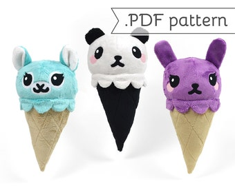 Animal Ice Cream Cone Plush .pdf Sewing Pattern Panda Fox Kitty Bunny Alpaca