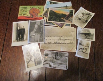 now 50 percent off!!  17 Vintage, Old,  Photos and Postcards Some Written On, Elephant, Tennessee, Horse, Children, 1918 to 1940s